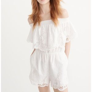 Abercrombie & Fitch White Off Shoulder Romper